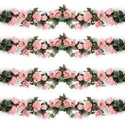 YILIYAJIA 4PCS(28.8 FT) Artificial Rose Vines Fake Silk Flowers Rose Garlands Hanging Rose Ivy P ...