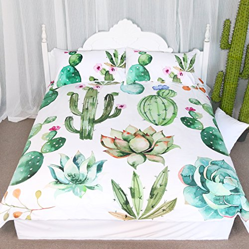 Bright Cactus Pattern Bedding Set Green plants cactus Print 3 Pieces Duvet Cover Set Nature Art  ...