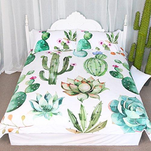 Bright Cactus Pattern Bedding Set Green plants cactus Print 3 Pieces Duvet Cover Set Nature Art  ...