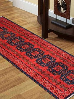 "Rugsotic Carpets Hand Knotted Afghan Wool And Silk 2′ 6"" x 10′ Runner Rug Kaza ..."