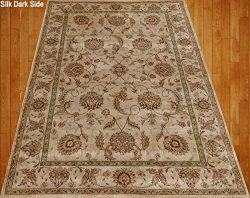 Home Must Haves Beige Cream Brown Red Green Traditional Persian Floral Faux Silk Rug Carpet (4X6)