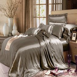 THXSILK Silk Duvet Cover Set 4 Piece, Silk Sheets, Luxury Bedding Sets – Ultra Soft, Machi ...