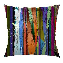 Moslion Wood Pillow Home Decorative Throw Pillow Cover Case Colorful Wood Striped Satin Square C ...