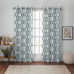 Exclusive Home Kochi Linen Blend Window Curtain Panel Pair with Grommet Top 54×96 Teal 2 Piece