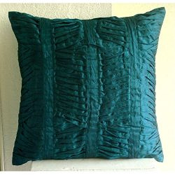 22″x22″ Decorative Pillow Covers, Royal Peacock Green Pillow Cases, Textured Pintuck ...