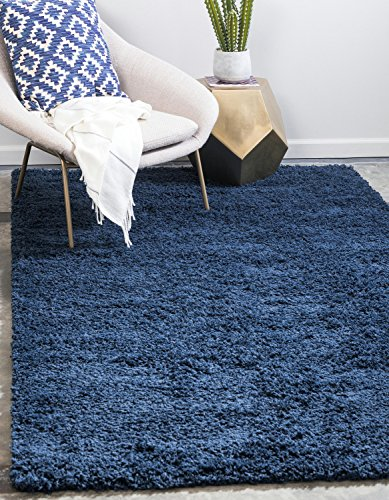 Unique Loom Solo Solid Shag Collection Modern Plush Navy Blue Area Rug (8′ x 10′)