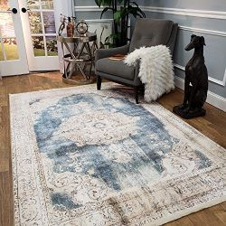 Maxy Home Serica Contemporary Blue Medallion 5 ft. 3 in. x 7 ft. 7 in. Area Rug