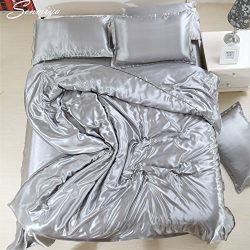 Senmiya Satin Bedding Set, Silky Sexy Duvet Cover (Silk Like) + 2 Solid Soft Pillow Shams with H ...