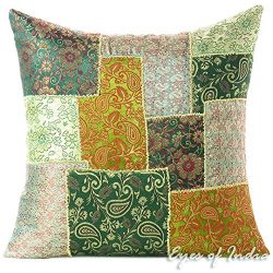 Eyes of India 16″ Green Silk Brocade Colorful Decorative Sofa Couch Pillow Cover Cushion T ...