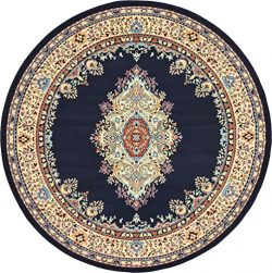 A2Z Rug Traditional Navy Blue 8′ Feet Round Mashad Collection Area rug Perfect for any flo ...