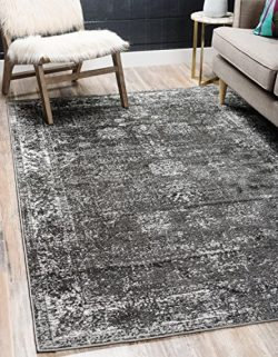 Unique Loom 3134052 Sofia Area Rug, 4′ x 6′, Dark Gray