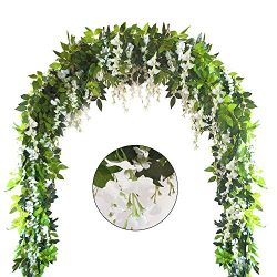 Zpollo 4Pcs 6.6 Feet Artificial Flowers Silk Wisteria Garland Artificial Wisteria Vine Rattan Si ...