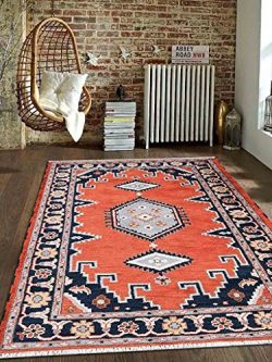 Rugsotic Carpets Hand Knotted Afghan Wool and Silk 8′ x 10′ Kazak Area Rug Dark Oran ...