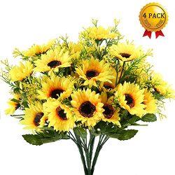 Nahuaa 4PCS Artificial Sunflowers Bundles Fake Silk Flowers Bouquets Fuax Floral Table Centerpie ...
