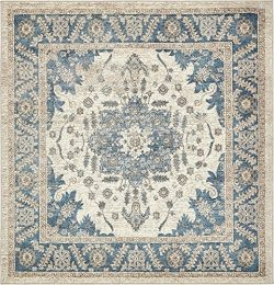 Unique Loom Salzburg Collection Traditional Oriental Cream Square Rug (5′ x 5′)
