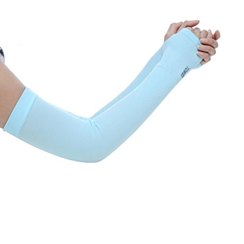 Sagton® Arm Sleeves Ice Silk for Men Women Youth Sunscreen Anti-Mosquitos Ultraviolet-Proof (Lig ...