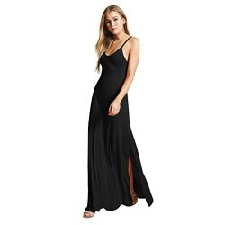 Maxi Dress,Han Shi Women Sleeveless V Neck Strappy Slip Evening Party Long Gown (Black, S)