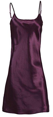 Verabella Women's Elegant Nightshirts Satin Sleepwear Chemise Slip,Purple,M/L