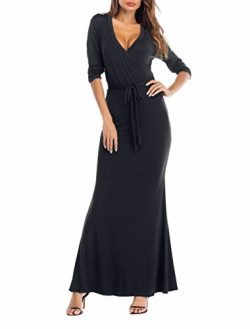 SUNNOW Womens Sexy Ladies Deep V Neck Party Dress Maxi Long Evening Dress (L, Black1)