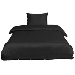 uxcell Ultra Soft Silky Satin Solid Color 2-piece Bedding Set – 1 Duvet Cover and 1 Pillow ...