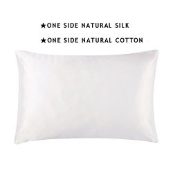 S·789 Ivory Cotton Pillowcase with Zipper, Silk Fabric on Another Side 19 Momme Silk,Gift Packag ...