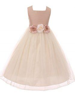 BluNight Collection Classic Silk Bodice Elegant Waist Little Girl Graduation Flower Girls Dresse ...