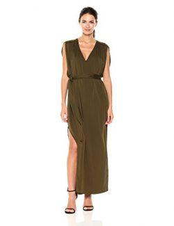 Halston Heritage Women's Flowy Sleeve Deep V Neck Silk Georgette Maxi Dress with Sash, Oli ...