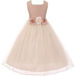 Big Girls Poly Dupioni Silk Flower Girl Dress 12 Dusty Rose