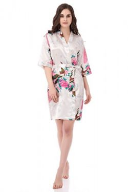 gusuqing Women's Printing Peacock Kimono Robe Short Sleeve Silk Bridal Robe White M