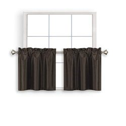 Home Queen Faux Silk Rod Pocket Tier Curtains for Small Window, Short Room Darkening Kitchen Cur ...