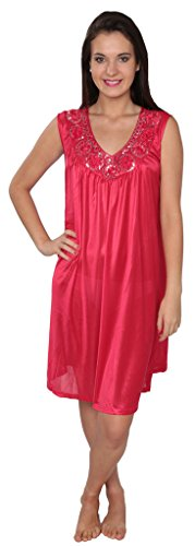 Women's Tricot Long Silk Satin Shiny Sleeveless Nightgown FUF035 Red XL