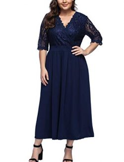KUREAS Women's V Neckline Floral Lace Top Plus Size Cocktail Party Midi Dress