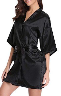 AIKEN Womens Black Satin Robe Sexy Plain Lingerie Short Bridesmaid Kimono Robe Bathrobe Summer S ...