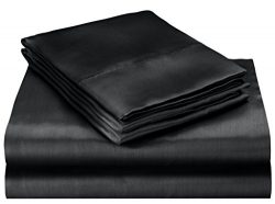 ELEGANTE Collection Pure Silky 4pc Bed Sheet Set – Queen Size, Black