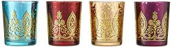 Kate Aspen Indian Jewel Henna Glass Votives, Tealight Candle Holders, Wedding Decorations/Favors ...