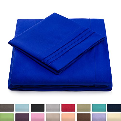 California King Bed Sheets – Royal Blue Luxury Sheet Set – Deep Pocket – Super ...
