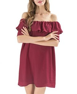Women's Off Shoulder Strapless Burgundy Swing Dress Short Sleeve Layer Ruffle