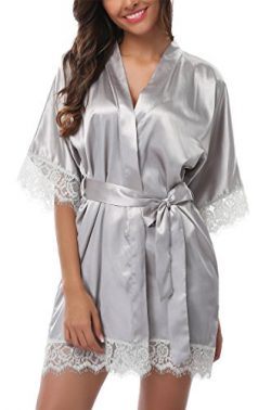 Giova Women's Lace Trim Kimono Robe Nightwear Nightgown Sleepwear Satin Short Robe Light G ...