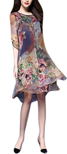 GESELLIE Womens Vintage Floral Print Silk Classy Crew Neck Casual Party Summer Midi Dress