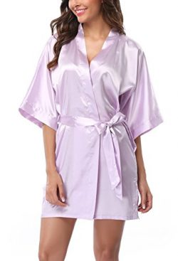 ABC-STAR Womens Short Satin Kimono Robe for Wedding Bridal Party Bridesmaid Gift (Large, Light P ...