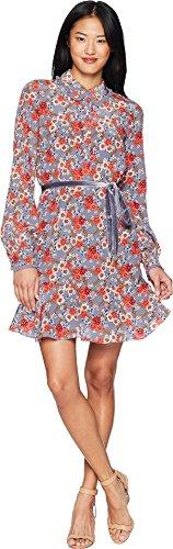 Juicy Couture Women's Larchmont Blooms Silk Shirtdress Slate Swirl Larchmont Blooms Small