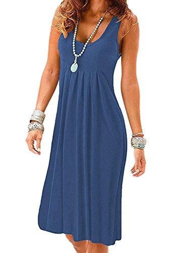 Camisunny High Waist Summer Tank Dress for Women Fashion 2018 Casual Loose Beach Coverup Size S