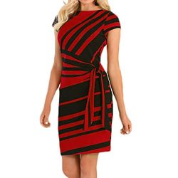 Women's Short Sleeve Striped Mini Bodycon Dresses Wear to Work Casual Party Pencil Dresses ...