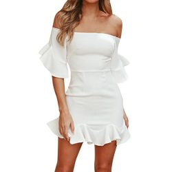 Women Sexy Elegant Off Shoulder Plain Ruffles Party Cocktail Mini Dress Sundress
