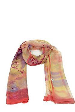 HuanZhou Silk Scarf Floral Design Scarf 100% Silk