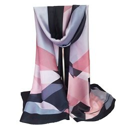 K-Elewon Silk Scarf Fashion Scarves Long Lightweight Sunscreen Shawls for Women SK065(Gray)