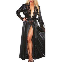SUKEQ Women Sexy Lingerie, Women Long Satin Silk Kimono Robes Babydoll Lace Lingerie Dressing Go ...