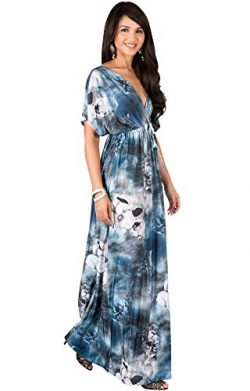 KOH KOH Plus Size Womens Long Kimono Short Sleeve V-Neck Floral Print Spring Summer Flowy Cute C ...
