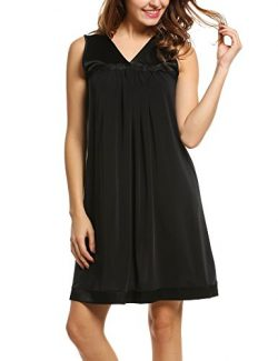 Hotouch Women's Satin Silk Short Lingerie Nightgown Black S