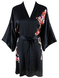Ledamon Women's 100% Silk Kimono Short Robe – Classic Handpainted Enclosed in an Ele ...